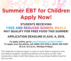 Chickasaw Nation Summer EBT for Children